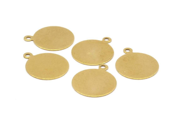 16mm Round Tag, 100 Raw Brass Round Tagswith 1 Loop (16mm) Brs 89 A0221