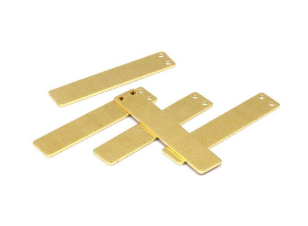 Brass Necklace Blank, 24 Raw Brass Rectangle Stamping Blanks With 2 Holes, Necklace Pendants (40x8x0.80mm) D335-07