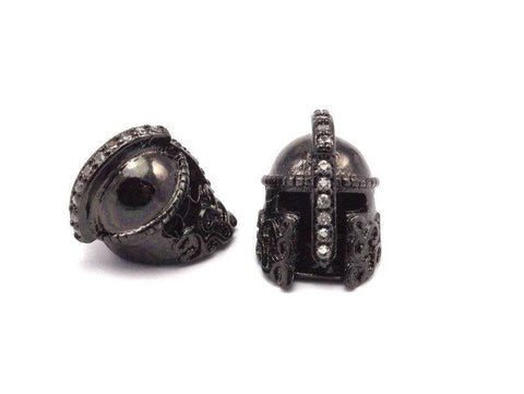 1 Pc Gunmetal Gladiator Helmet Beads, Cz Micro Pave Bead 15x10mm W00743 R61