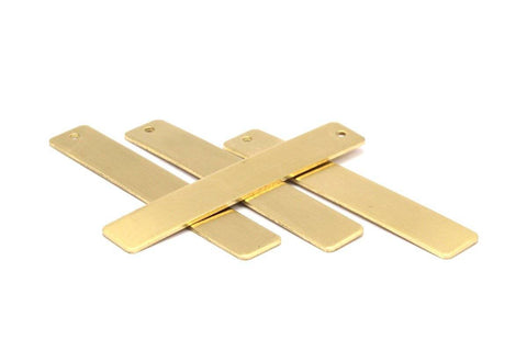 1 Hole Brass Bar, 10 Raw Brass Rectangle Stamping Blank With 1 Hole, Pendant (10x60x1mm) Y123