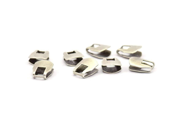 Silver Chain Ends, 10 Antique Silver Plated Brass End Caps For Soldering To Snake Chain Ends (b0057)