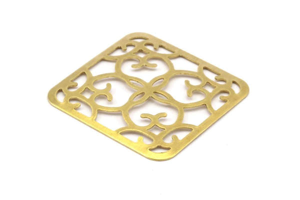 Brass Filigree Jewelry, 12 Raw Brass Square Filigree (27mm) Brs 476 A0172