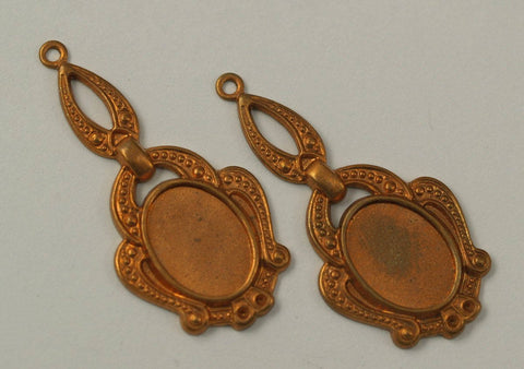 2 Vintage 42x20 Mm Copper Plated Brass Pendant Base (14x10 Mm)