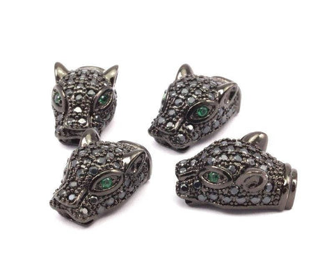 1 Gunmetal Leopard Head Beads, Cz Micro Pave Bead 17x10mm W01000 L03