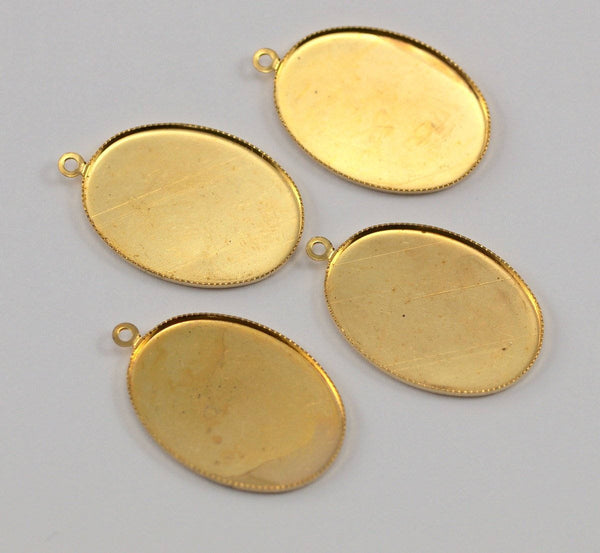 4 Vintage Raw Brass Oval Pendant Setting With 25x18 Mm Cameo Base K560