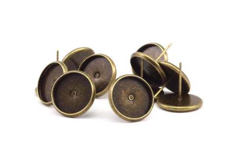 10mm Tray Cabochon Earring, 50 Antique Bronze Earring Posts 10mm Pad, Ear Studs Cabochon Setting D191