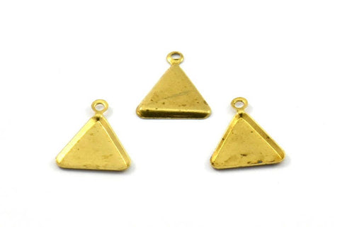 10mm Triangle Setting, 50 Raw Brass Triangle  with 1 Loop, Prong Settings (10x10mm) S537