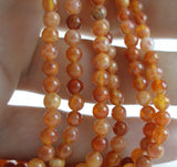 Fire Crab Agate 4 Mm Gemstone Round Beads 15.5 Inches Full Strand T024