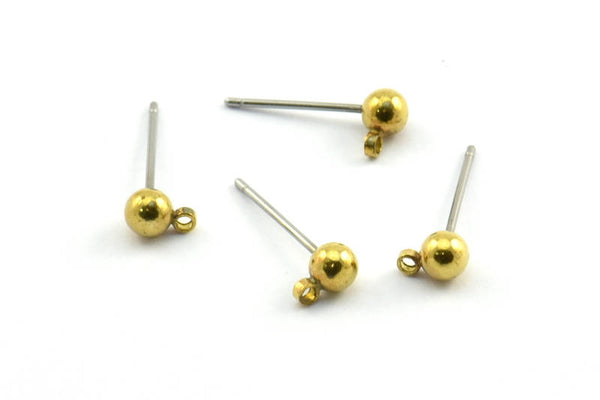 50 Earring Posts with Raw Brass Ball Pad and 4 mm Hole Hook BS 1799