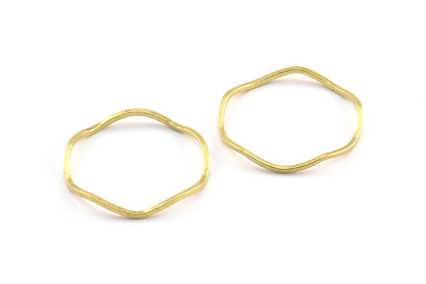 Brass Circle Rings, 24 Raw Brass Wavy Circle Rings, Charms (19x0.8mm) BS 1806