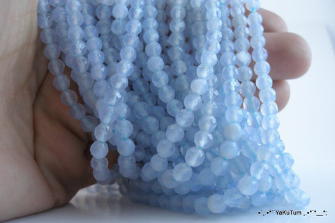 2 FULL STRANDS Chalcedony 5 mm Round Faceted Gemstone Beads T038