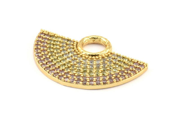 Semi Circle Pendant, 1 Gold Plated Zircon Pave Semi Circle Necklace Pendant With 1 Loop, Jewelry Findings (28x18x1.8mm) Q387