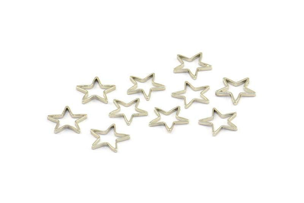 Blank Star Charm, 50 Silver Tone Star Connector (10mm) Bs 1169