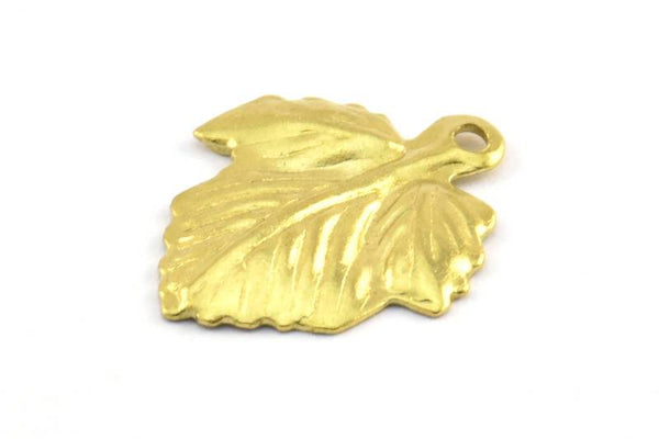 Brass Leaf Charm, 100 Raw Brass Leaf Charms, Pendant, Findings (19x16mm) Brs 514 A0529