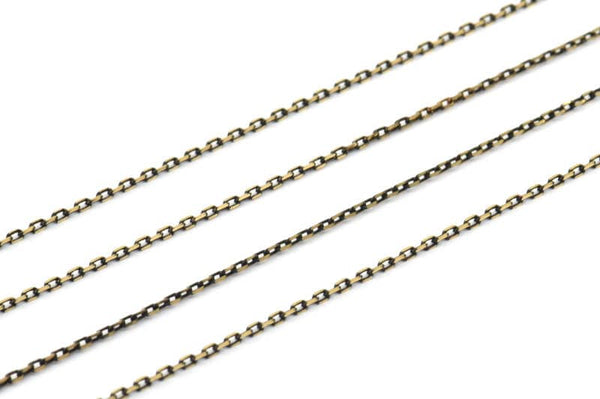 Black And Gold Chain, 5m - 16.5 Feet (1.5x2.2mm) Brass Soldered Chain - Bg1.2 ( Z004 )