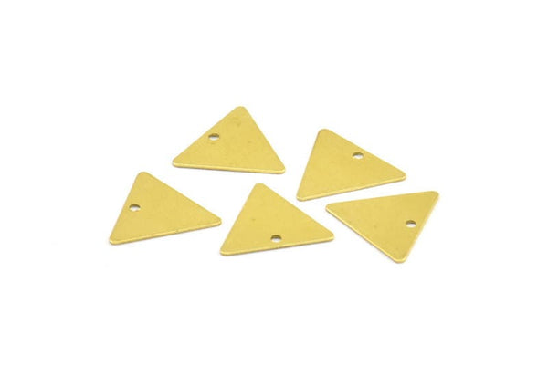 14mm Brass Triangle, 200 Raw Brass Triangle Pendants with 1 Holes, Charms  (12x14mm)  A0015
