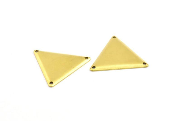 Brass Triangle Charm, 20 Raw Brass Triangle Charms with 3 Holes (22x25mm) Brs 3012  A0023