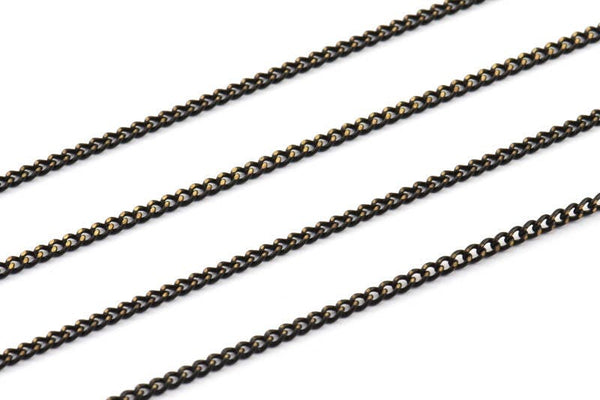 Black Faceted Chain, 20 Meters - 66 Feet (2x2.5mm) Black Antique Brass Sparkle Bright Faceted Soldered Curb Chain - Z061
