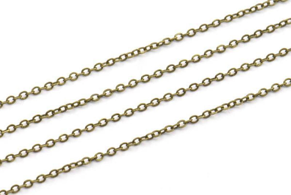 Antique Bronze Chain, 10 Meters - 33 Feet (1.5x2mm) Antique Bronze Tone Brass Soldered Chain - Y006 ( Z028 )