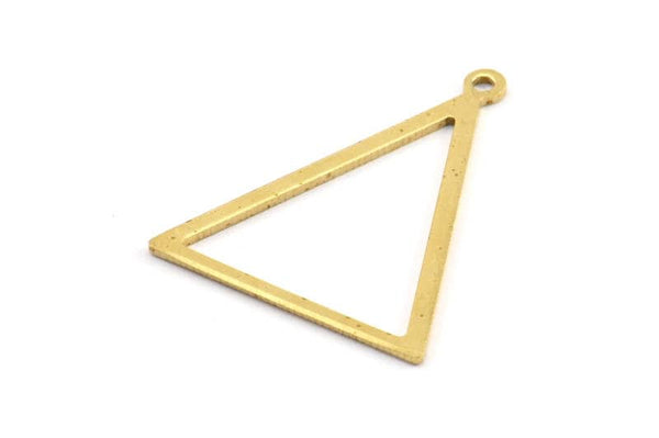 Brass Blank Triangles, 6 Raw Brass Triangles with 1 Loop (34x27x1mm) BS 2327