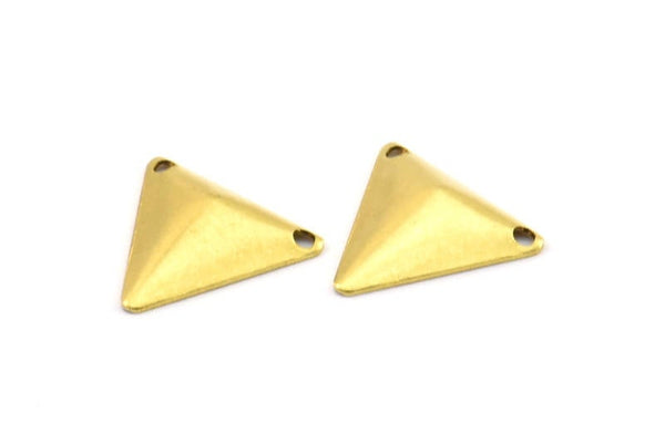 Brass Cambered Triangle, 150 Raw Brass Cambered Triangle With 2 Holes, Finding (14mm) Brs 5012 A0053