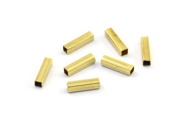 Brass Spacer Bead, 100 Raw Brass Square Shaped Tube Beads, Charms, Findings (8x2mm) Brs 1404 A0717