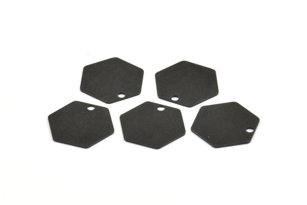 Honeycomb Pendant, 25 Oxidized Brass Black Hexagon Stamping Blank Tag, Charms (12mm) Brs 4090d A0157 S674