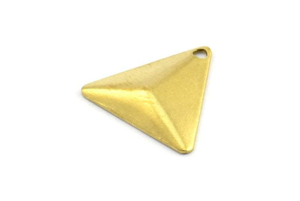 Brass Pyramid Triangle, 150 Raw Brass Triangle Cambered With 1 Hole, Jewelry Findings (14mm) Brs 5011 A0088