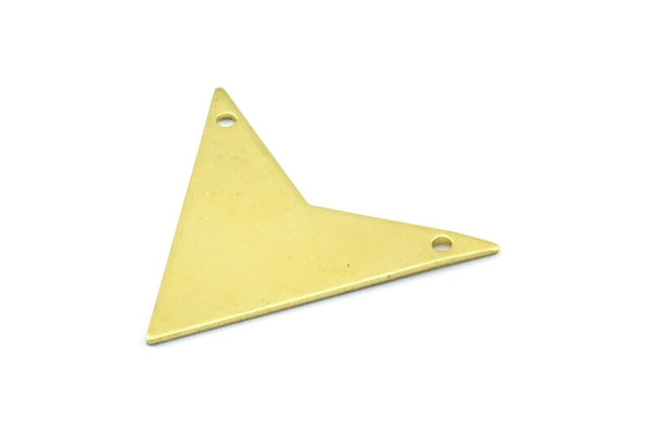 Brass Triangle Pendant, 4 Raw Brass Triangle Pendant With 2 Holes (33x33x33mm) Brass 045 A0114