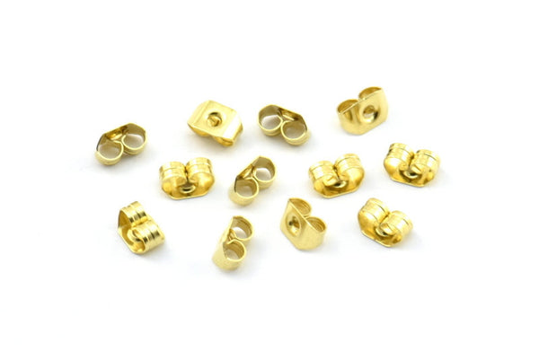 Brass Back Stoppers, 250 Raw Brass Earring Studs Back Stoppers (5x3.5mm) Bs1105--A0892