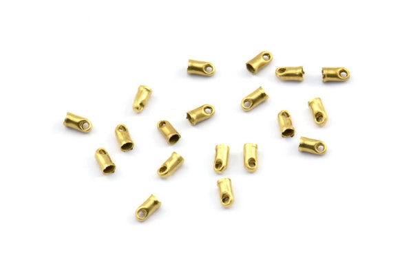 Brass Tassel End Caps, 250 Raw Brass End Cap With 1 Hole, Cord Tips, Cord Ends (4x2mm) E143