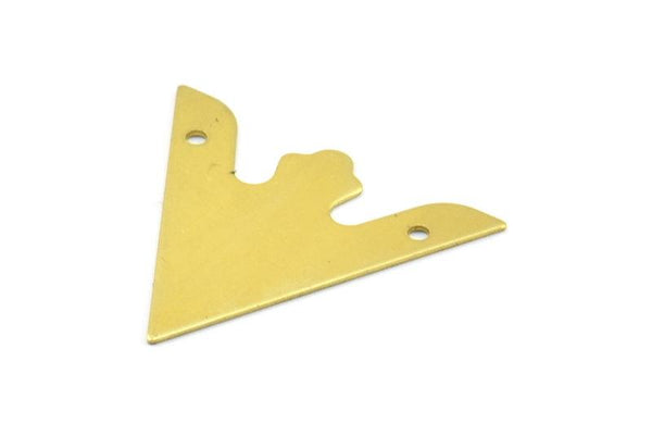 Brass Triangle Pendant, 10 Raw Brass Triangle Pendant With 2 Holes (33x33x33mm) Brass 049 A0148