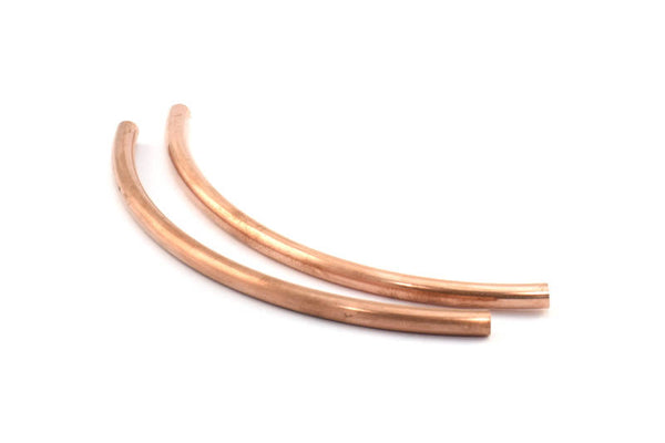 3 Raw Copper Curved Extra Long Tube Findings (110 X 5 Mm) D479