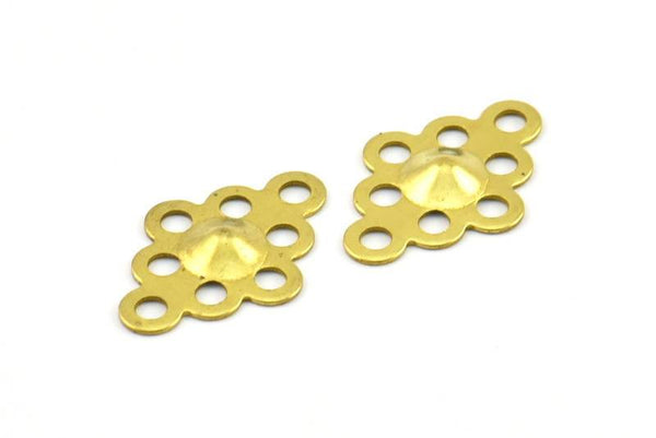 Raw Brass Connector, 20 Raw Brass with Holes Connector, Charms, Findings  (17x12mm) Brs 30 D219--C039