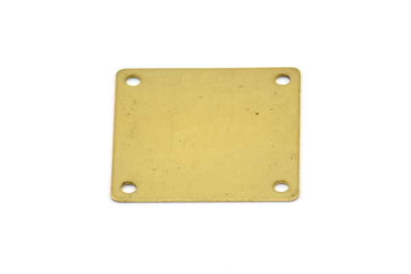 Brass Square Charm, 12 Raw Brass Square Stamping Connectors With 4 Holes (20x20mm) Pen 669 A0066