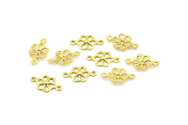 100 Raw Brass Flower Connectors, Charms, Pendant,findings (14x8mm) A0513