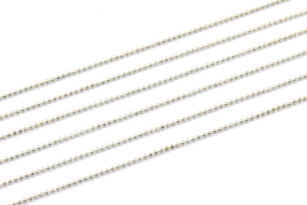 1 Meter - 3.3 Feet 1 Mm Silver Tone Brass Faceted Ball Chain - W69 ( Z030 )