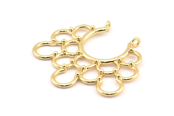 Ethnic Circle Pendant, 2 Gold Plated Brass Pendants With 2 Loops, Pendants, Charms, Findings (35.5x39x1.4mm) U036 Q417