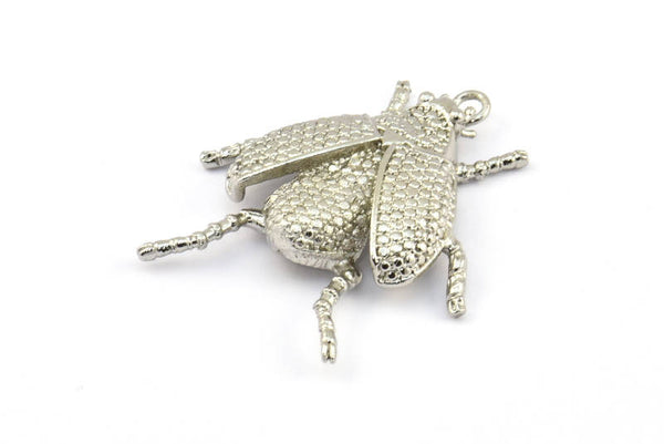 Tiny Bug Charm, 1 Silver Tone Bug Fly Insect Charm With 1 Loop (41x35mm) N242
