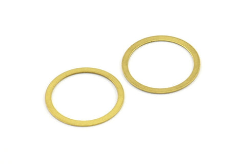 19mm Connector Rings, 20 Raw Brass Connector Circle Rings (19mm) Brs 448 A0186