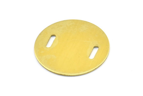 10 Raw Brass (28x0.8mm) Stamping Blank Disc, 2 Hole D135--N663