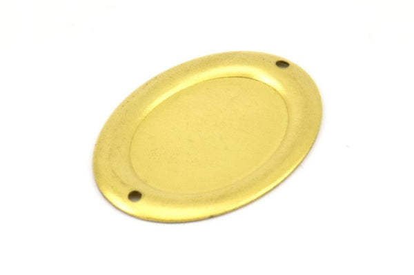 Brass Cabochon Blank, 5 Cabochon Setting Raw Brass Cameo Stamping Blank with 2 Hole Connectors (18x25mm) Brs 598 A0699