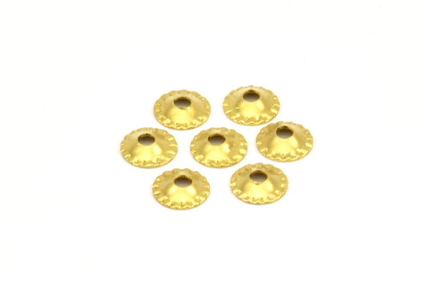 Tiny Bead Caps, 100 Raw Brass Middle Hole Spacer Beads, Bead Caps, Charms, Pendant, Findings (6.5mm) Brs 622 A0450