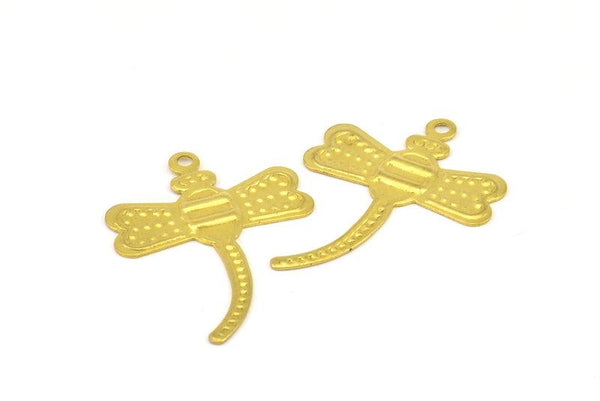 Brass Dragonfly Charm, 30 Raw Brass Dragonfly Charms, Pendants, Findings (26x20mm)  Brs 473 A0503