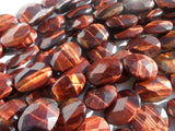Red Tiger Eye 20x15 Mm Faceted Oval Gemstone Beads 15.5 Inches Full Strand G59