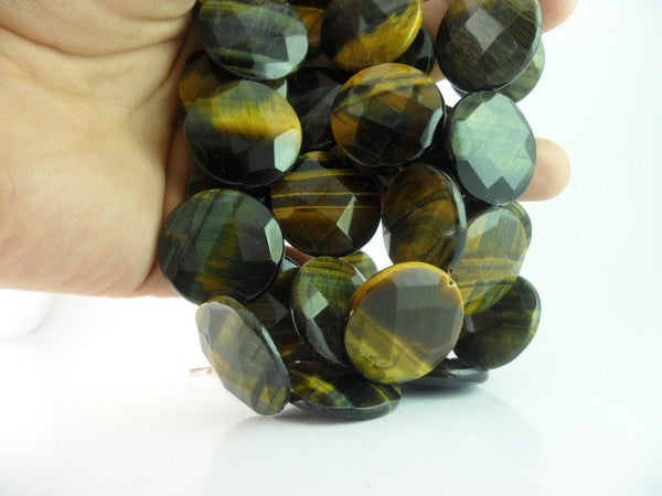 5 Pcs Tiger Eye 25 Mm Coin Faceted Gemstone Beads T016