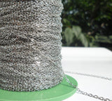 Silver Brass Chain, 1 Meter - 3.3 Feet (1.5 X 2 Mm) Silver Tone Brass Soldered Chain - Y005