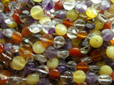 Mix 8 Mm Coin Faceted Gemstone Beads 15.5 Inches Full Strand G104