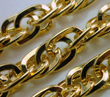 Link Chain, 1 Meter 3.3 Feet (7.5x5mm) Gold Plated Chain - Gp33