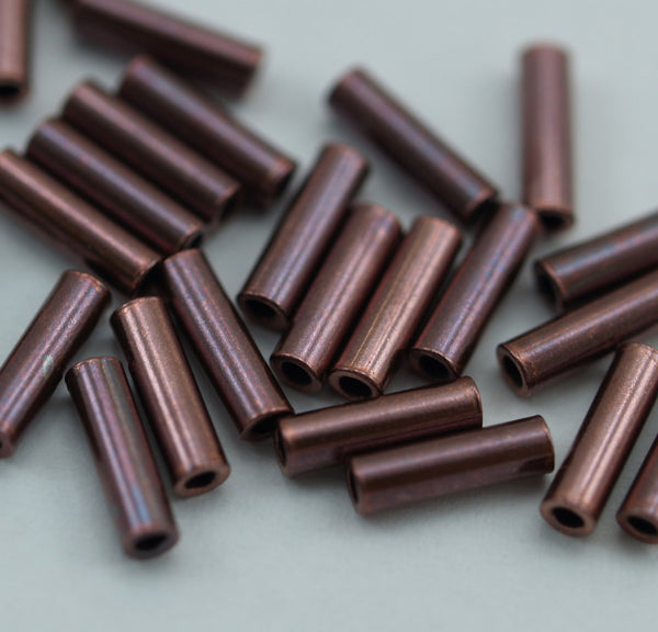 Copper Spacer Beads, 200 Raw Copper Tube Beads (7x2mm)
